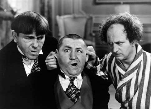 The Three Stooges (Moe is on left)