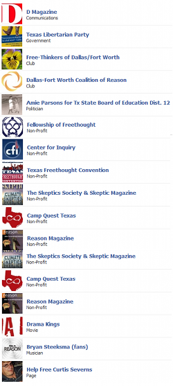 Brandon Parsons's atheist and anti-religious clubs on Facebook