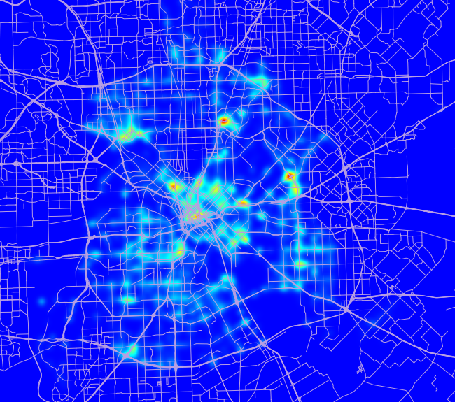 Heat map of traffic tickets written in Dallas
