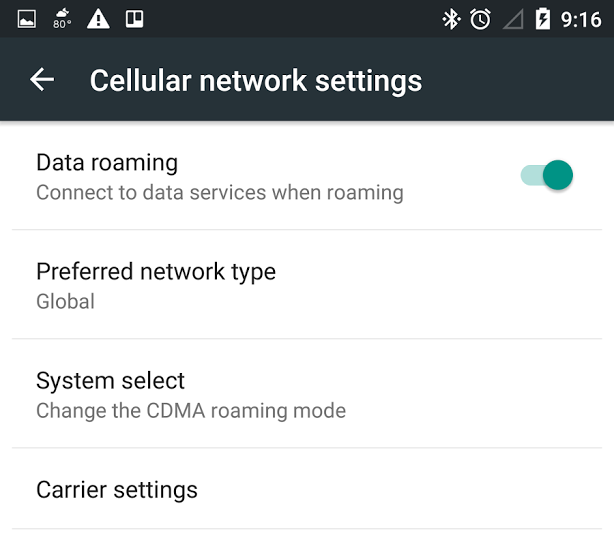 Moto X cellular network settings