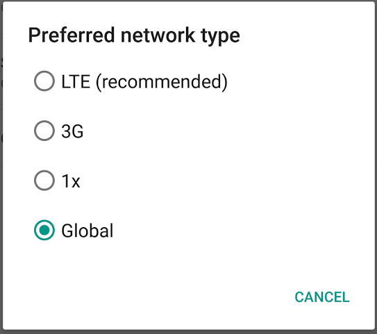 Moto X preferred network type